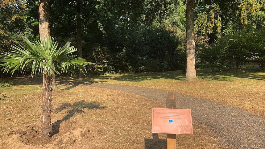 Herinneringsbord op de plek waar het Indisch Monument moet komen Foto: Gemeente Ede