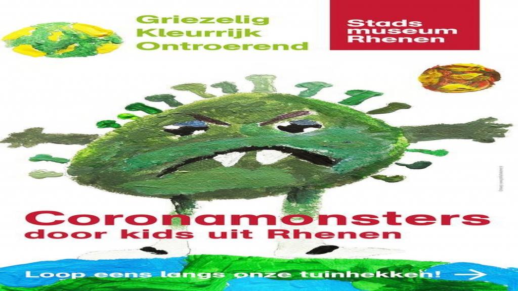 Corona-monsters op de tuinhekken van Stadsmuseum Rhenen