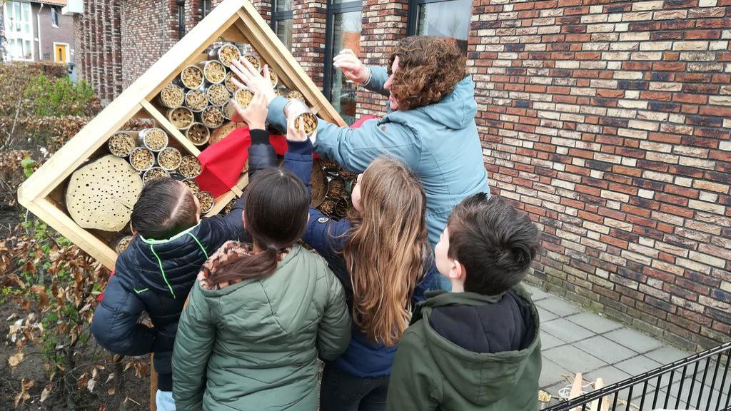 Wethouder Van der Schans opent bijenhotels op twee Edese scholen