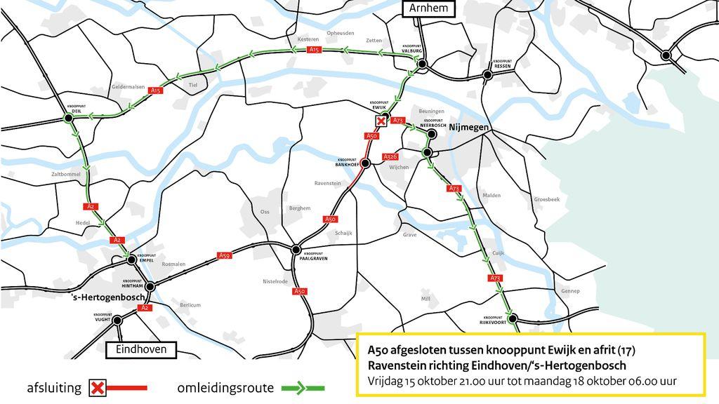 A50 komend weekend tussen knooppunt Ewijk en Ravenstein afgesloten