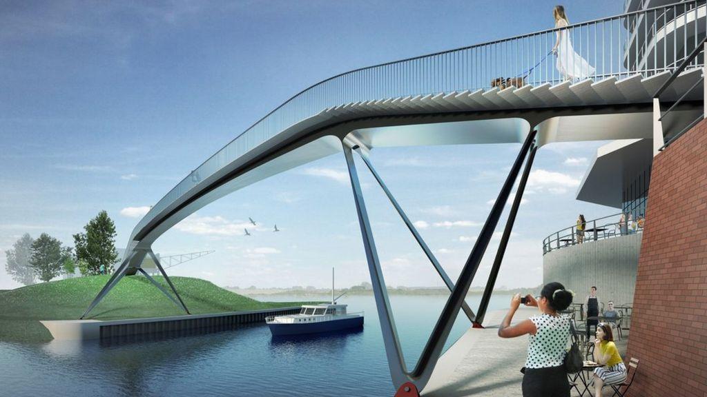Deze brug ligt volgend jaar over havenmond Nijmegen